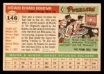 1955 Topps #146  Dick Donovan  Back Thumbnail