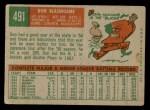 1959 Topps #491  Don Blasingame  Back Thumbnail