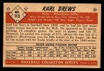 1953 Bowman #113  Karl Drews  Back Thumbnail