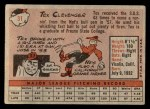 1958 Topps #31  Tex Clevenger  Back Thumbnail