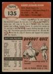 1953 Topps #135  Al Rosen  Back Thumbnail