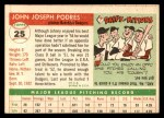 1955 Topps #25  Johnny Podres  Back Thumbnail