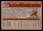 1957 Topps #140  Frank Thomas  Back Thumbnail