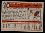 1957 Topps #86  Bill Sarni  Back Thumbnail