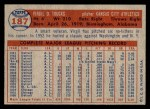 1957 Topps #187  Virgil Trucks  Back Thumbnail