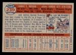 1957 Topps #239  Tom Morgan  Back Thumbnail