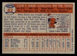 1957 Topps #82  Elston Howard  Back Thumbnail