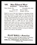 1939 Play Ball Reprint #149  Max West  Back Thumbnail