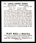 1939 Play Ball Reprint #77  Lew Riggs  Back Thumbnail