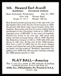 1939 Play Ball Reprint #143  Earl Averill  Back Thumbnail