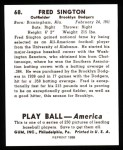1939 Play Ball Reprint #68  Fred Sington  Back Thumbnail