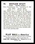 1939 Play Ball Reprint #95  Whit Wyatt  Back Thumbnail