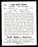 1939 Play Ball Reprint #34  Frank Demaree  Back Thumbnail