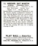 1939 Play Ball Reprint #12  Hershel Martin  Back Thumbnail