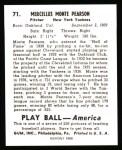 1939 Play Ball Reprint #71  Monte Pearson  Back Thumbnail