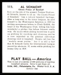 1939 Play Ball Reprint #113  Al Schacht  Back Thumbnail