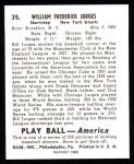 1939 Play Ball Reprint #35  Bill Jurges  Back Thumbnail