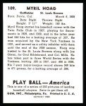 1939 Play Ball Reprint #109  Myril Hoag  Back Thumbnail