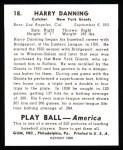 1939 Play Ball Reprint #18  Harry Danning  Back Thumbnail