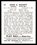 1939 Play Ball Reprint #57  Buddy Hassett  Back Thumbnail