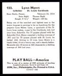 1939 Play Ball Reprint #133  Lynn Myers  Back Thumbnail