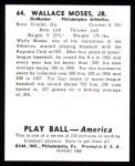 1939 Play Ball Reprint #64  Wally Moses  Back Thumbnail