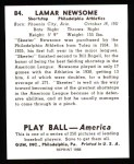 1939 Play Ball Reprint #84  Skeeter Newsom  Back Thumbnail