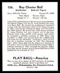 1939 Play Ball Reprint #136  Roy Bell  Back Thumbnail