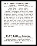 1939 Play Ball Reprint #75  Stan Bordagaray  Back Thumbnail
