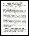 1939 Play Ball Reprint #4  Eldon Auker  Back Thumbnail