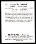 1939 Play Ball Reprint #147  George Coffman  Back Thumbnail