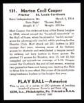 1939 Play Ball Reprint #131  Mort Cooper  Back Thumbnail