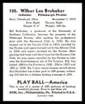1939 Play Ball Reprint #130  Bill Brubaker  Back Thumbnail