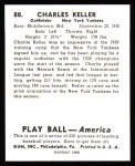 1939 Play Ball Reprint #88  Charlie Keller  Back Thumbnail