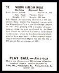 1939 Play Ball Reprint #38  Billy Myers  Back Thumbnail