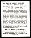 1939 Play Ball Reprint #89  Lloyd Waner  Back Thumbnail