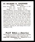1939 Play Ball Reprint #87  Milburn Shoffner  Back Thumbnail