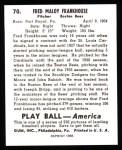 1939 Play Ball Reprint #70  Fred Frankhouse  Back Thumbnail