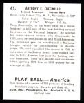 1939 Play Ball Reprint #61  Tony Cuccinello  Back Thumbnail