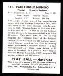 1939 Play Ball Reprint #111  Van Lingle Mungo  Back Thumbnail