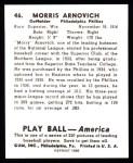 1939 Play Ball Reprint #46  Morrie Arnovich  Back Thumbnail