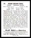 1939 Play Ball Reprint #39  Rick Ferrell  Back Thumbnail