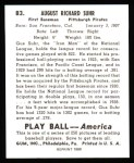 1939 Play Ball Reprint #83  Gus Suhr  Back Thumbnail