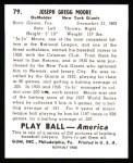 1939 Play Ball Reprint #79  Jo Jo Moore  Back Thumbnail