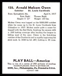 1939 Play Ball Reprint #135  Mickey Owen  Back Thumbnail