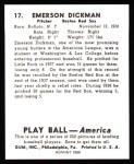 1939 Play Ball Reprint #17  Emerson Dickman  Back Thumbnail