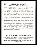 1939 Play Ball Reprint #91  John Knott  Back Thumbnail