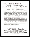 1939 Play Ball Reprint #134  Tot Presnell  Back Thumbnail