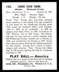 1939 Play Ball Reprint #102  Lem (Pep) Young  Back Thumbnail