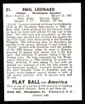 1939 Play Ball Reprint #21  Dutch Leonard  Back Thumbnail